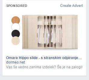 facebok namizni oglas