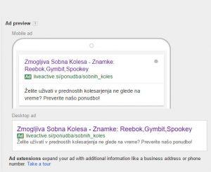 kako izgleda razširjeni tekstovni oglas