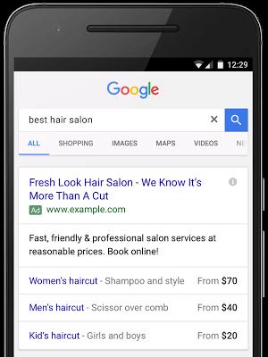 kako izgleda adwords razširitev oglasa za ceno