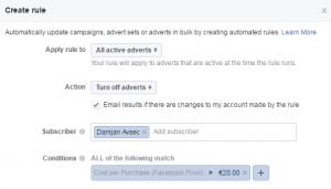 delovno okno v katerem določimo parametre facebook pravila