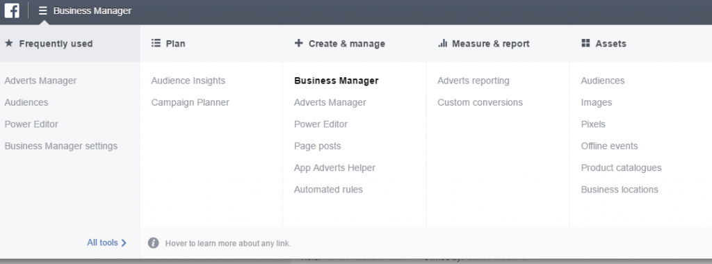 glavna navigacija v facebook business managerju