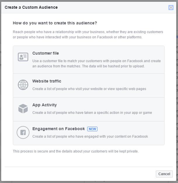 seznam vseh občinstev po meri, ki jih ponuja facebook oglaševalska platforma
