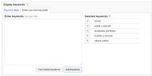 primer seznama ključnih besed za oglaševanje na prikaznem omrežju
