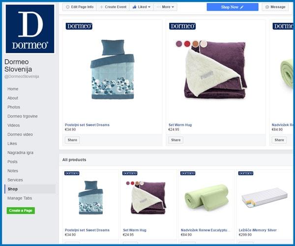 kako izgleda dormeo trgovina na facebooku