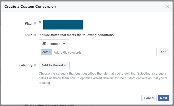 primer facebook konverzije po meri