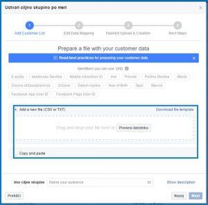 kako uvozimo email seznam