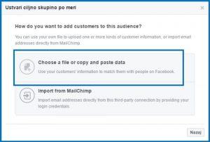kako uvozimo email seznam v facebook