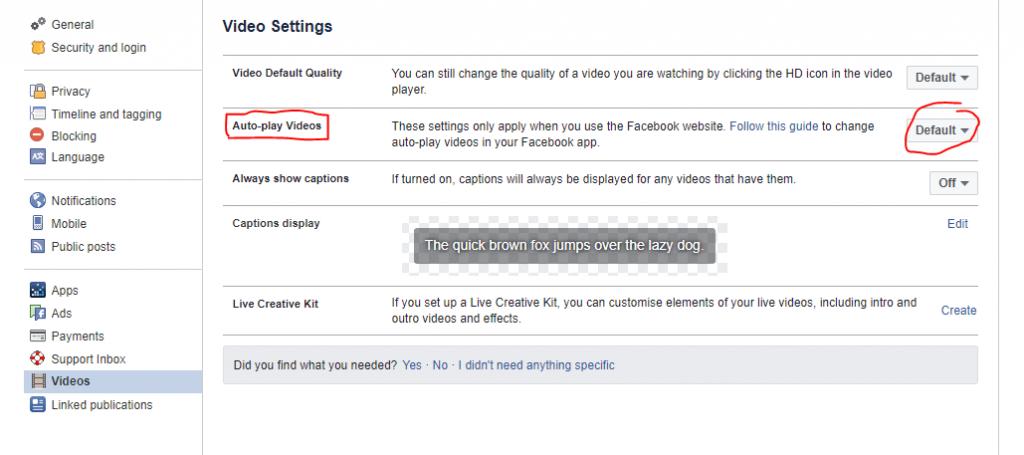 Kako izklopimo Facebook autoplay