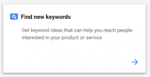 Google Ads tool s pomočja katerega poiščemo nove ključne besede