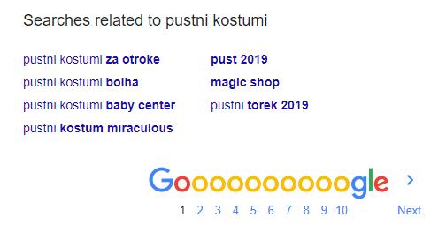 Predlogi ključnih besed na iskalniku Google
