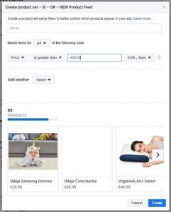 dinamična facebook remarketing in filtriranje izdelkov