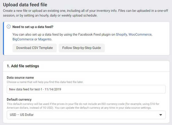 vnos  data feed datoteke v facebook katalog