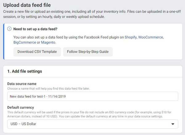 vnos  data feed datoteke v facebook katalog