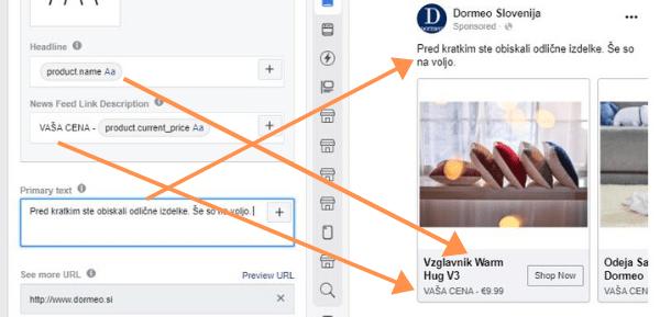 dinamična tekstovna polja v facebook oglasu